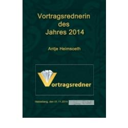 Auszeichnung als Vortragsrednerin des Jahres 2014 Antje Heimsoeth