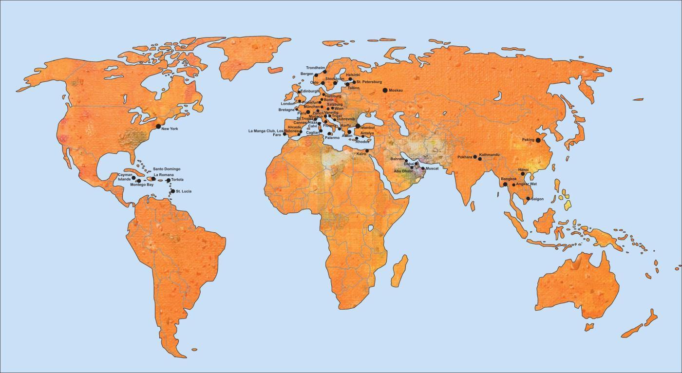 Länder, die Antje Heimsoeth bereist und in denen sie gearbeitet hat bzw. auf der Bühne stand