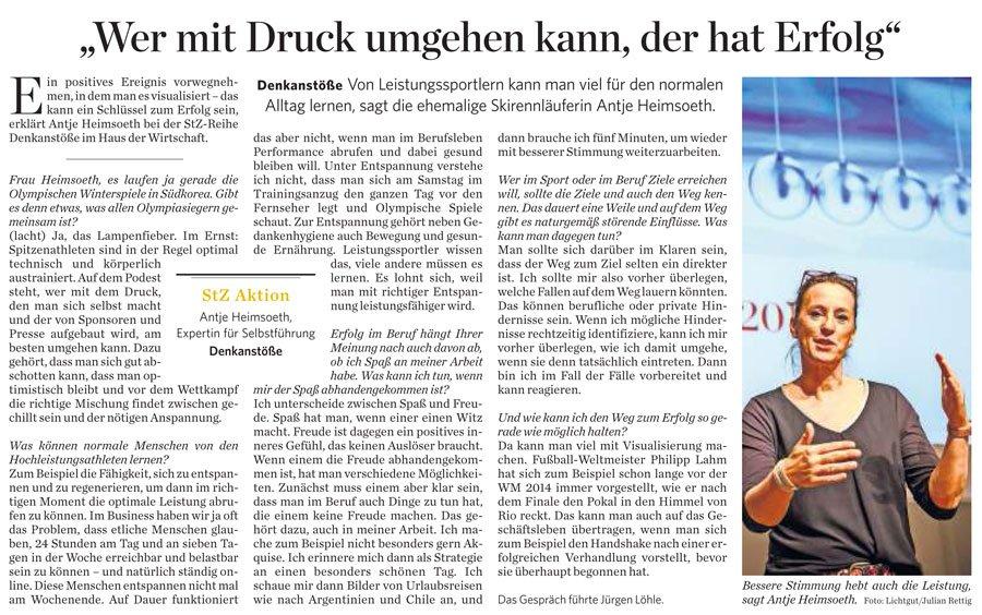 Antje Heimsoeth hält Keynote bei StZ-Reihe Denkanstöße im Haus der Wirtschaft