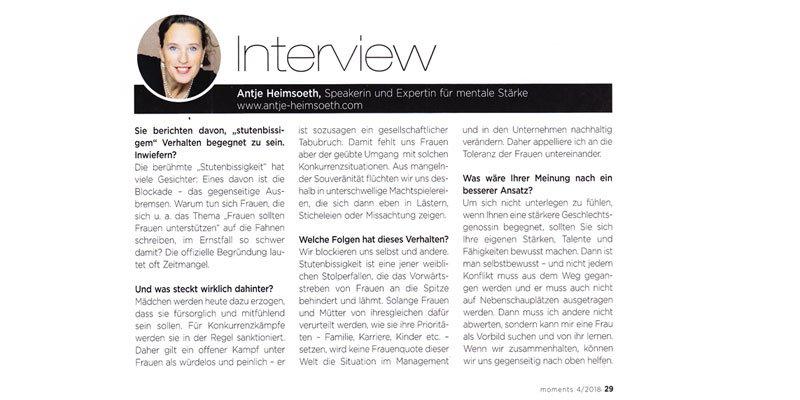 Interview für Beitrag über Stutenbissigkeit und den erbitterten Kampf unter Frauen in moments 4/2018