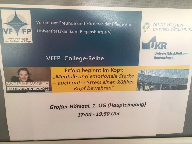 """Antje Heimsoeth hält Vortrag """"Unter Stress einen kühlen Kopf bewahren"""" am Universitätsklinikum Regensburg"""